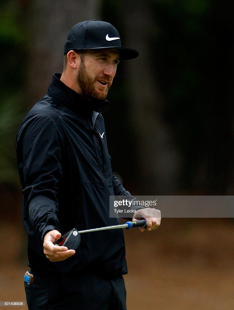 Keven Chappell reacts after a putt on the seventh hole during the second round of the 2016 RBC Heritage at Harbour Town Golf Links on April 15, 2016 in Hilton Head Island, South Carolina.