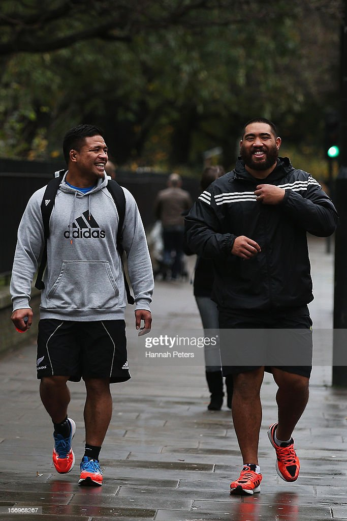 Keven Mealamu and Charlie Faumuina of the All Blacks return from a recovery session at the Imperial College on November 26, 2012 in London, England.