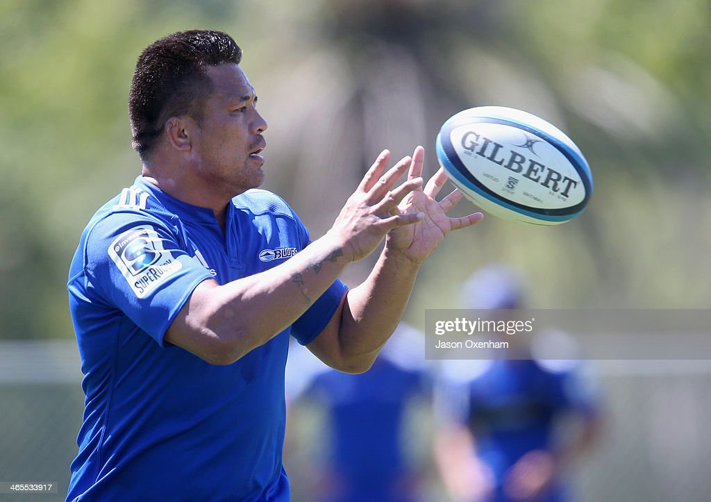 Keven Mealamu during a Blues Super Rugby training session at Unitec on January 28, 2014 in Auckland, New Zealand.