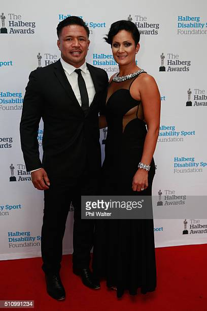 Keven Mealamu of the All Blacks poses with his wife Latai Mealamu during the 2016 Halberg Awards at Vector Arena on February 18 2016 in Auckland New...