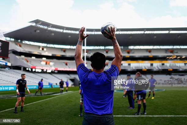 Keven Mealamu of the All Blacks throws the ball into the lineout during a New Zealand All Blacks Captain's Run at Eden Park on August 14 2015 in...