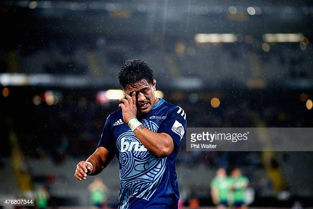 Keven Mealamu of the Blues is subbed off during the round 18 Super Rugby match between the Blues and the Highlanders at Eden Park on June 12 2015 in...