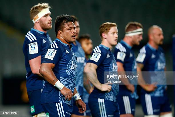 Keven Mealamu of the Blues looks on during the round 18 Super Rugby match between the Blues and the Highlanders at Eden Park on June 12 2015 in...