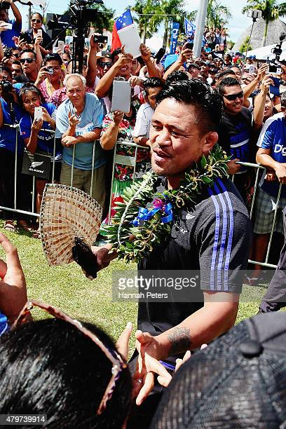 Keven Mealamu of the New Zealand All Blacks is welcomed by fans following a parade through the main streets of Apia on July 7 2015 in Apia Samoa