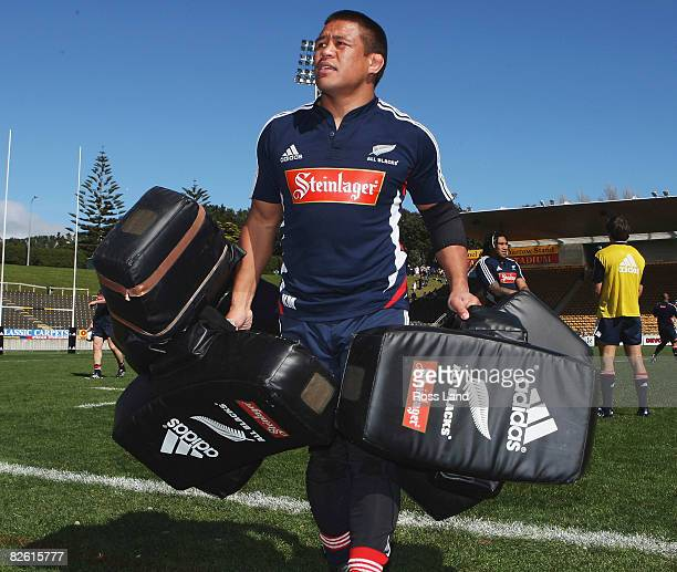 Keven Mealamu packs up the tackle bags during a New Zealand All Blacks training session at Yarrow Stadium on Septer 01 2998 in New Plymouth New...