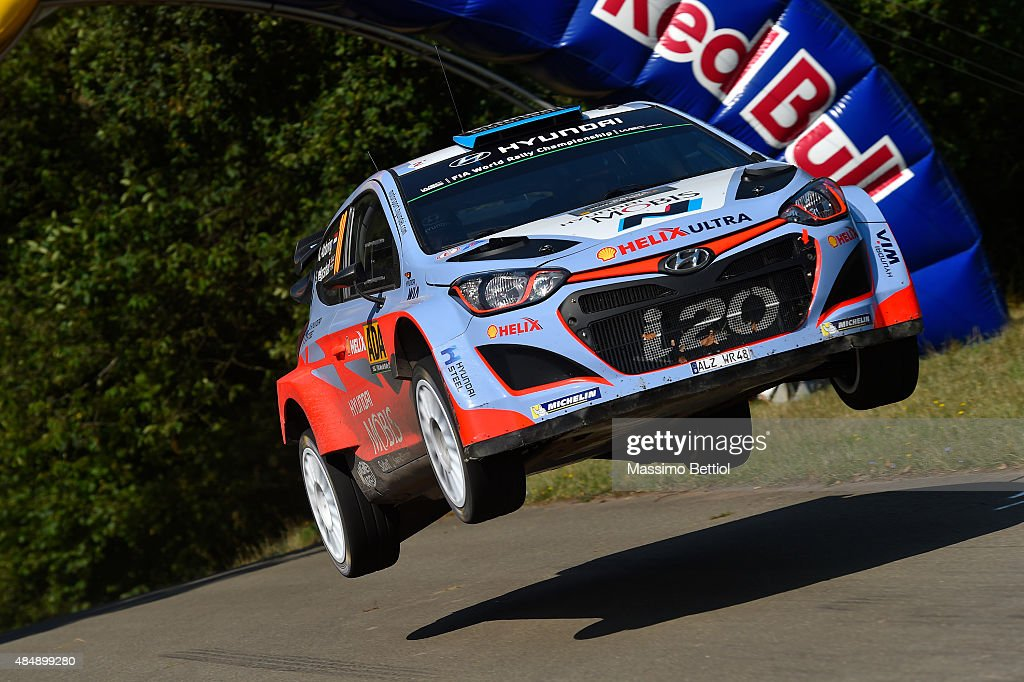 Kevin Abbring of Holland and Sebastian Marshall of Great Britain compete in their Hyundai Motorsport N Hyundai i20 WRC during Day Two of the WRC Germany on August 22, 2015 in Trier, Germany.