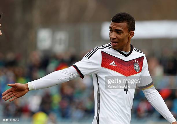 Kevin Akpoguma of Germany reacts during the International Friendly match between U20 Germany and U20 Poland at ErnstAbbeSportfeld on March 27 2015 in...