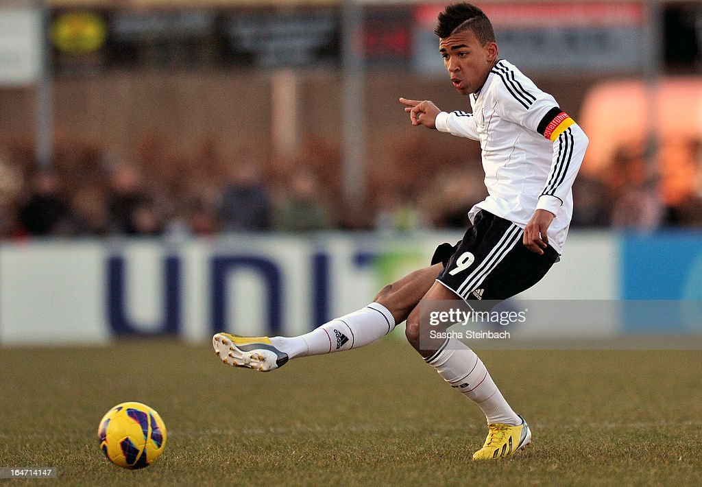 Kevin Akpoguma of Germany runs with the ball during the U18 International Friendly match between The Netherlands and Germany on March 26, 2013 in Vriezenveen, Netherlands.