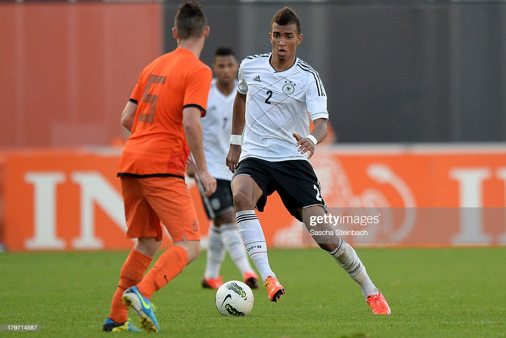Kevin Akpoguma of Germany runs with the ball during the U19 international friendly match between The Netherlands and Germany on September 6, 2013 in Nijmegen, Netherlands.