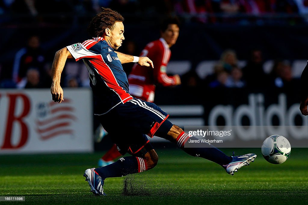 Kevin Alston #30 of New England Revolution passes the ball against the FC Dallas during the game at Gillette Stadium on March 30, 2013 in Foxboro, Massachusetts.