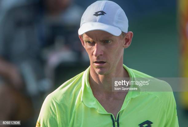 Kevin Anderson between sets during a mens singles quarterfinal match at the 2017 Citi Open on August 4 2017 at the Rock Creek Tennis Center in...