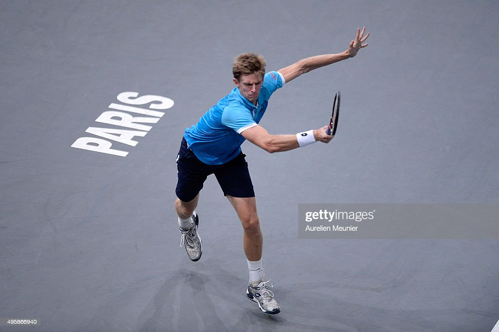 <a gi-track='captionPersonalityLinkClicked' href=/galleries/search?phrase=Kevin+Anderson+-+Jugador+de+tenis&family=editorial&specificpeople=5405822 ng-click='$event.stopPropagation()'>Kevin Anderson</a> of Republic of South Africa plays a forehand during the match against Rafael Nadal of Spain on day four of the BNP Paribas Masters at Palais Omnisports de Bercy on November 5, 2015 in Paris, France.