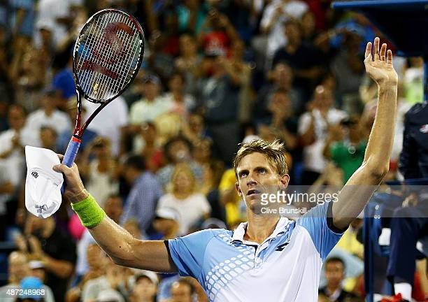 Kevin Anderson of South Africa celebrates after defeating Andy Murray of Great Britain during their Men's Singles Fourth Round match on Day Eight of...
