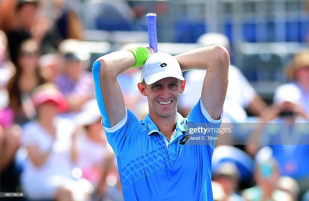 <a gi-track='captionPersonalityLinkClicked' href=/galleries/search?phrase=Kevin+Anderson+-+Tennisser&family=editorial&specificpeople=5405822 ng-click='$event.stopPropagation()'>Kevin Anderson</a> of South Africa celebrates after defeating Pierre-Hugues Herbert of France during the men's final match of the Winston-Salem Open at Wake Forest University on August 29, 2015 in Winston-Salem, North Carolina. Anderson won the match in straight sets 6-4, 7-5.
