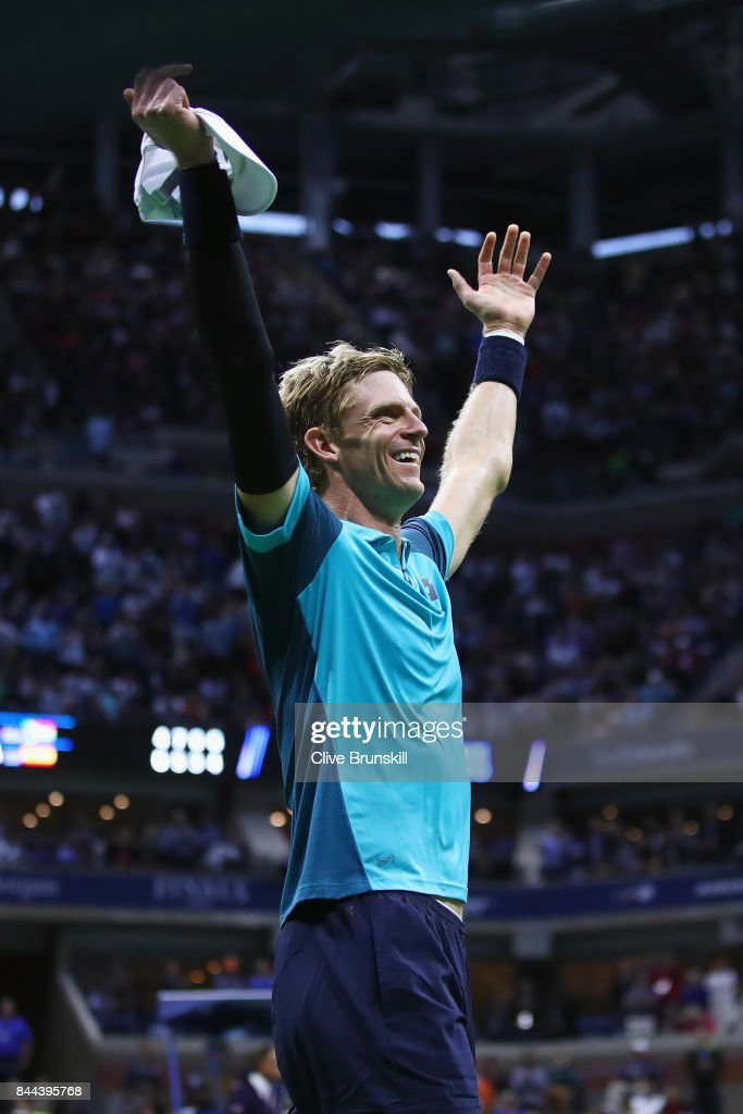 Kevin Anderson of South Africa celebrates after defeating Pablo Carreno Busta of Spain in their Men's Singles Semifinal match on Day Twelve of the 2017 US Open at the USTA Billie Jean King National Tennis Center on September 8, 2017 in the Flushing neighborhood of the Queens borough of New York City. Kevin Anderson defeated Pablo Carreno Busta in the fourth set with a score of 4-6, 7-5, 6-3, 6-4.