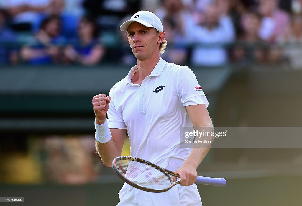 Kevin Anderson of South Africa celebrates break point in his Gentlemen's Singles Fourth Round match against Novak Djokovic of Serbia during day seven of the Wimbledon Lawn Tennis Championships at the All England Lawn Tennis and Croquet Club on July 6, 2015 in London, England.
