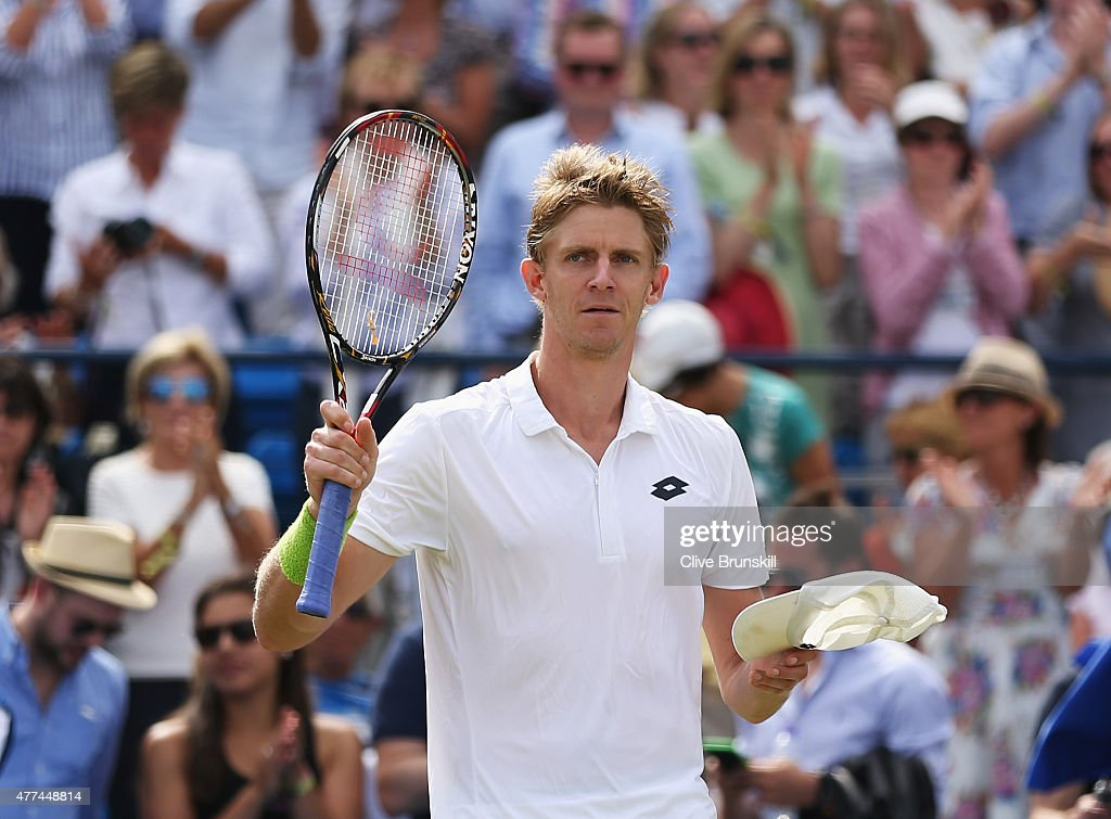 <a gi-track='captionPersonalityLinkClicked' href=/galleries/search?phrase=Kevin+Anderson+-+Tennista&family=editorial&specificpeople=5405822 ng-click='$event.stopPropagation()'>Kevin Anderson</a> of South Africa celebrates his victory in his men's singles second round match against Stanislas Wawrinka of Switzerland during day three of the Aegon Championships at Queen's Club on June 17, 2015 in London, England.