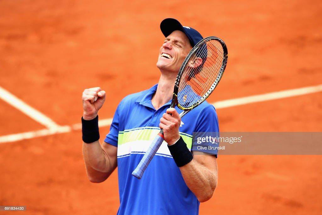 Kevin Anderson of South Africa celebrates victory during the mens singles third round match against Kyle Edmund of Great Britain day seven of the 2017 French Open at Roland Garros on June 3, 2017 in Paris, France.