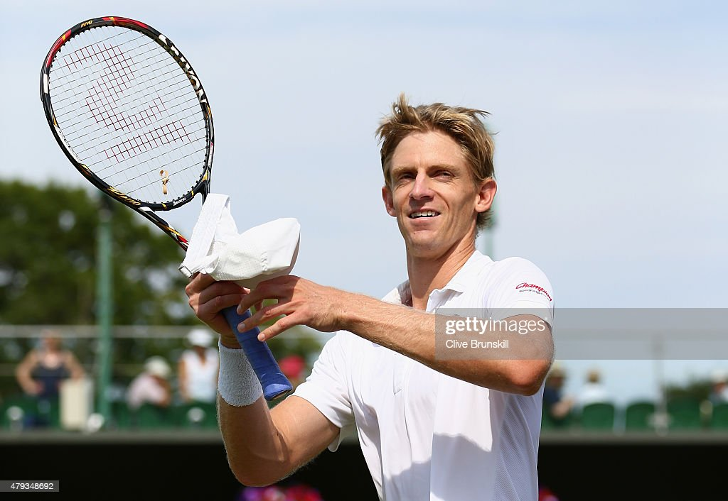 <a gi-track='captionPersonalityLinkClicked' href=/galleries/search?phrase=Kevin+Anderson+-+Tennis+Player&family=editorial&specificpeople=5405822 ng-click='$event.stopPropagation()'>Kevin Anderson</a> of South Africa celebrates victory in his Gentlemen's Singles Third Round match against Leonardo Mayer of Argentina during day five of the Wimbledon Lawn Tennis Championships at the All England Lawn Tennis and Croquet Club on July 3, 2015 in London, England.