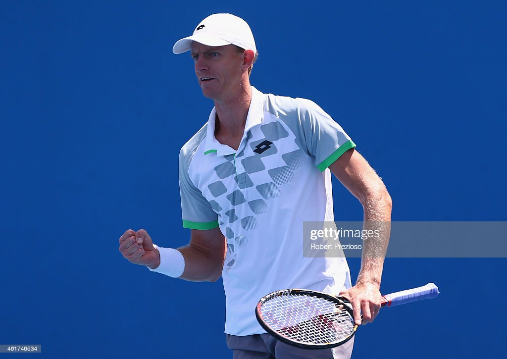 Kevin Anderson of South Africa celebrates winning the first set in his first round match against Diego Schwartzman of Argentina during day one of the 2015 Australian Open at Melbourne Park on January 19, 2015 in Melbourne, Australia.