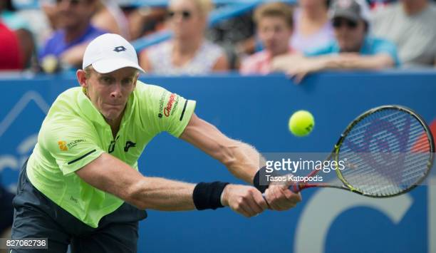 Kevin Anderson of South Africa competes with Alexander Zverev of Germany at William HG FitzGerald Tennis Center on August 6 2017 in Washington DC