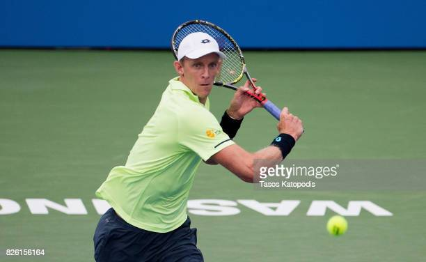 Kevin Anderson of South Africa competes with Dominic Thiem of Austria at William HG FitzGerald Tennis Center on August 3 2017 in Washington DC