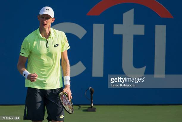 Kevin Anderson of South Africa competes with Yuki Bhambri of New Delhi at William HG FitzGerald Tennis Center on August 4 2017 in Washington DC