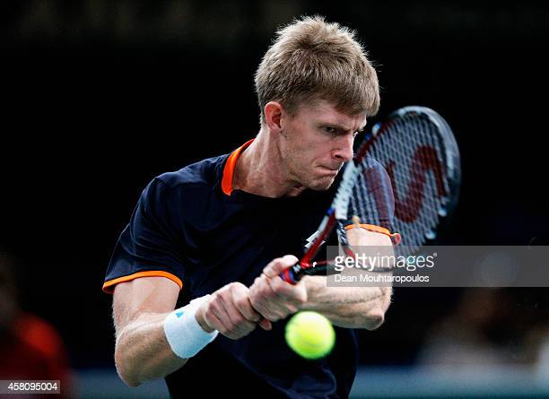 Kevin Anderson of South Africa in action against Stan Wawrinka of Switzerland during day 4 of the BNP Paribas Masters held at the at Palais...