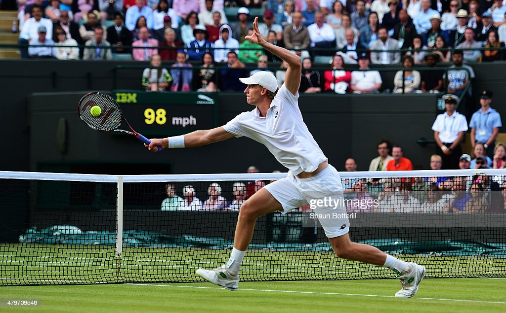 <a gi-track='captionPersonalityLinkClicked' href=/galleries/search?phrase=Kevin+Anderson+-+Tennisser&family=editorial&specificpeople=5405822 ng-click='$event.stopPropagation()'>Kevin Anderson</a> of South Africa plays a backhand in his Gentlemen's Singles Fourth Round match against Novak Djokovic of Serbia during day seven of the Wimbledon Lawn Tennis Championships at the All England Lawn Tennis and Croquet Club on July 6, 2015 in London, England.