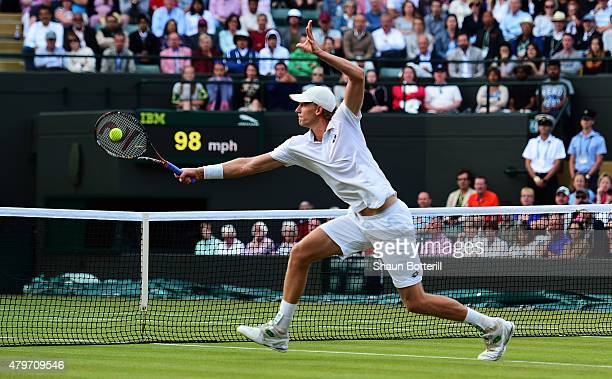 Kevin Anderson of South Africa plays a backhand in his Gentlemen's Singles Fourth Round match against Novak Djokovic of Serbia during day seven of...