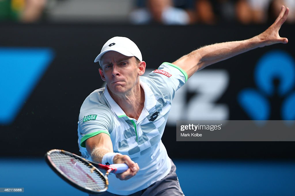 Kevin Anderson of South Africa plays a forehand in his fourth round match against Rafael Nadal of Spain during day seven of the 2015 Australian Open at Melbourne Park on January 25, 2015 in Melbourne, Australia.