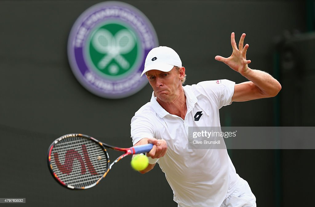 Kevin Anderson of South Africa plays a forehand in his Gentlemens Singles Fourth Round match against Novak Djokovic of Serbia during day eight of the Wimbledon Lawn Tennis Championships at the All England Lawn Tennis and Croquet Club on July 7, 2015 in London, England.