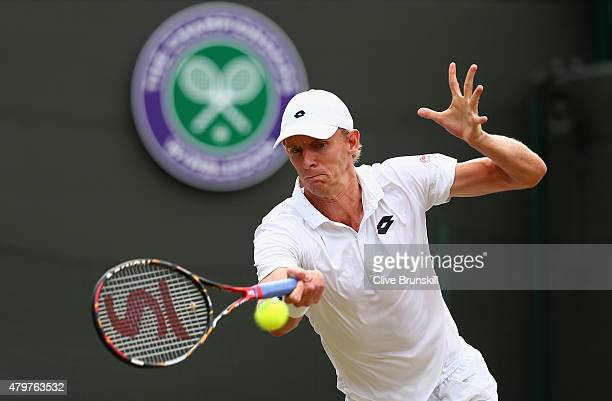 Kevin Anderson of South Africa plays a forehand in his Gentlemens Singles Fourth Round match against Novak Djokovic of Serbia during day eight of the...