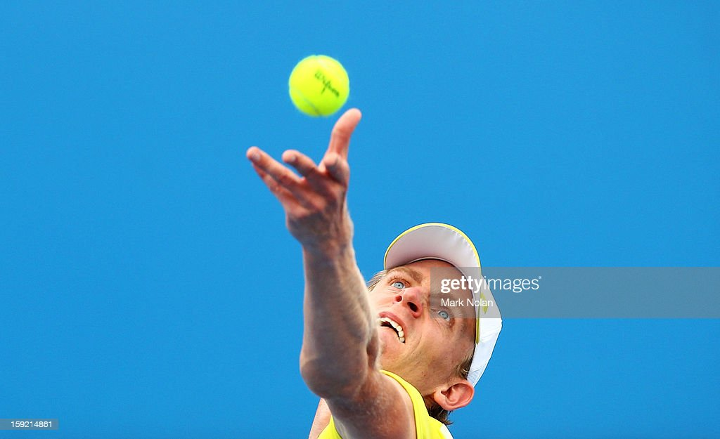 Kevin Anderson of South Africa plays a forehand in his quaterfinal match against Denis Istomin of Uzbekistan during day five of the Sydney International at Sydney Olympic Park Tennis Centre on January 10, 2013 in Sydney, Australia.