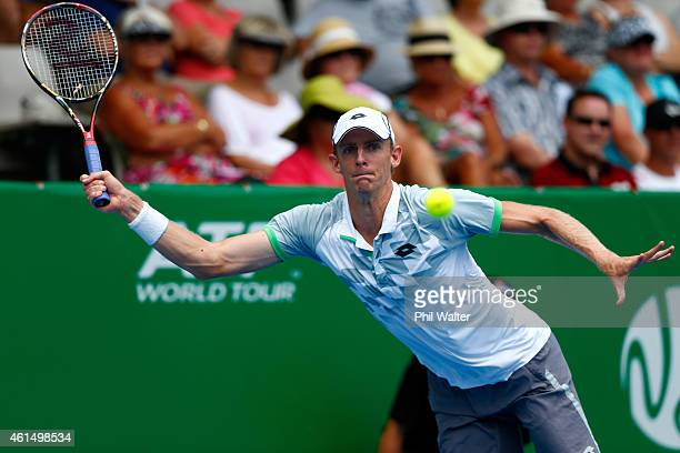 Kevin Anderson of South Africa plays a forehand in his singles match against JanLennard Struff of Germany during day three of the 2015 Heineken Open...