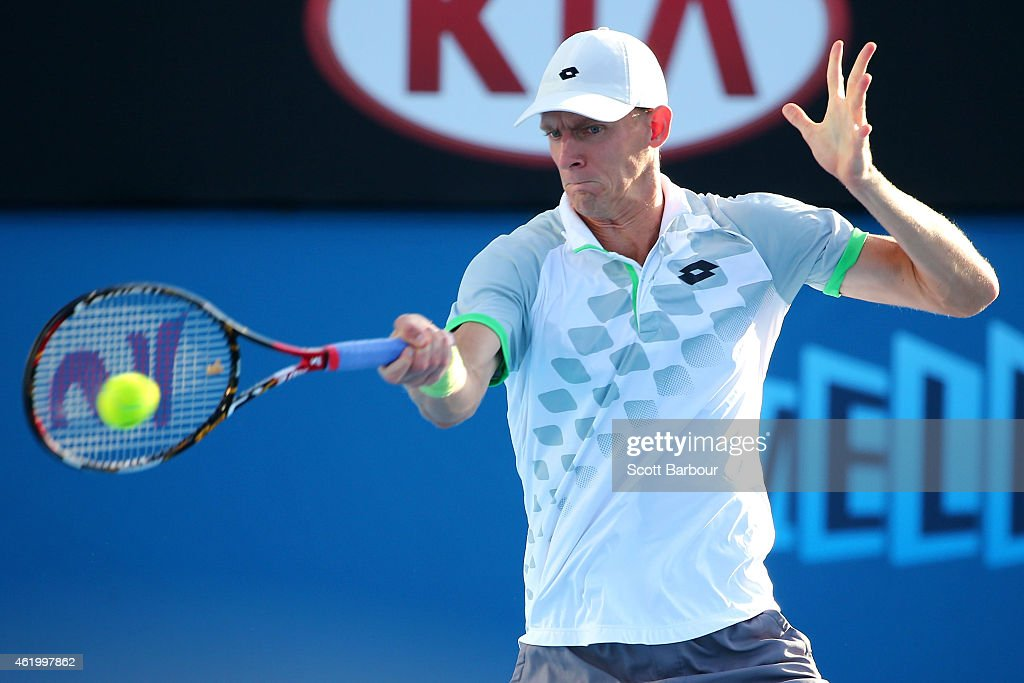 Kevin Anderson of South Africa plays a forehand in his third round match against Richard Gasquet of France during day five of the 2015 Australian Open at Melbourne Park on January 23, 2015 in Melbourne, Australia.