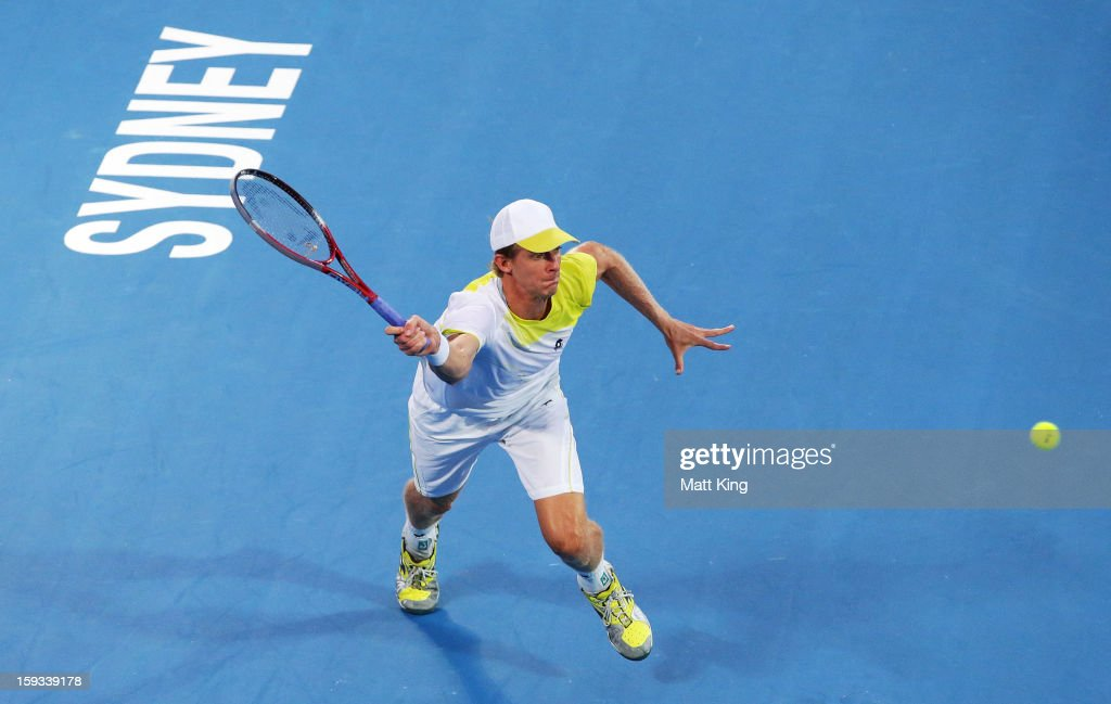 Kevin Anderson of South Africa plays a forehand in the men's final match against Bernard Tomic of Australia during day seven of the Sydney International at Sydney Olympic Park Tennis Centre on January 12, 2013 in Sydney, Australia.