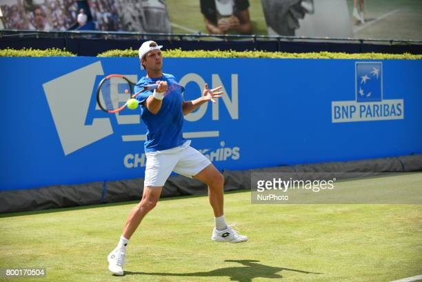 Kevin Anderson of South Africa practices at The Queen's Club London on June 22 2017 The players use the grass courts to train themselves before the...