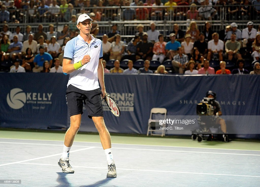 Kevin Anderson of South Africa reacts after a point during his match against Malek Jaziri of Tunisia during the fifth day of the Winston-Salem Open at Wake Forest University on August 28, 2015 in Winston-Salem, North Carolina.