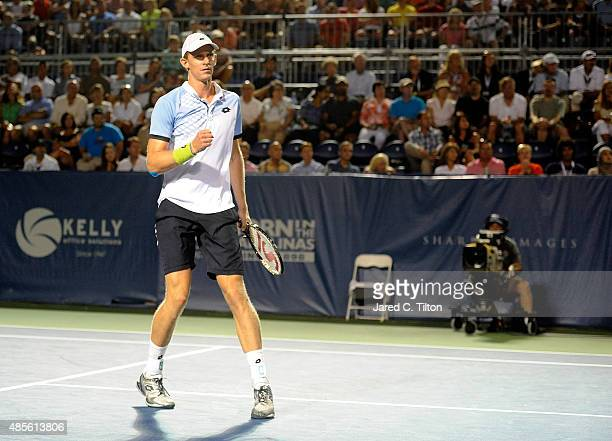 Kevin Anderson of South Africa reacts after a point during his match against Malek Jaziri of Tunisia during the fifth day of the WinstonSalem Open at...