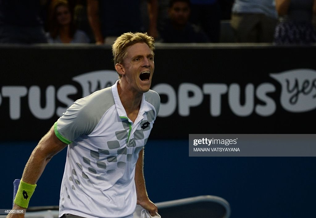 <a gi-track='captionPersonalityLinkClicked' href=/galleries/search?phrase=Kevin+Anderson+-+Tennista&family=editorial&specificpeople=5405822 ng-click='$event.stopPropagation()'>Kevin Anderson</a> of South Africa reacts after beating Richard Gasquet of France in their men's singles match on day five of the 2015 Australian Open tennis tournament in Melbourne on January 23, 2015.