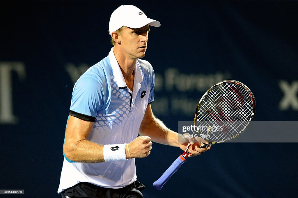 Kevin Anderson of South Africa reacts after defeating Borna Coric of Croatia during the fourth day of the Winston-Salem Open at Wake Forest University on August 27, 2015 in Winston-Salem, North Carolina. Anderson won the match 7-6(2), 6-4.