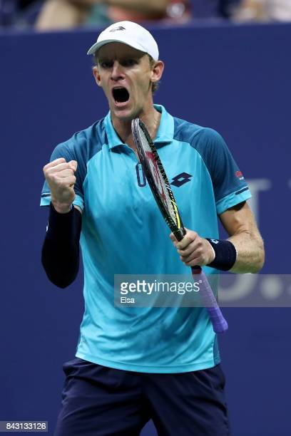 Kevin Anderson of South Africa reacts against Sam Querrey of the United States during their Men's Singles Quarterfinal match on Day Nine of the 2017...