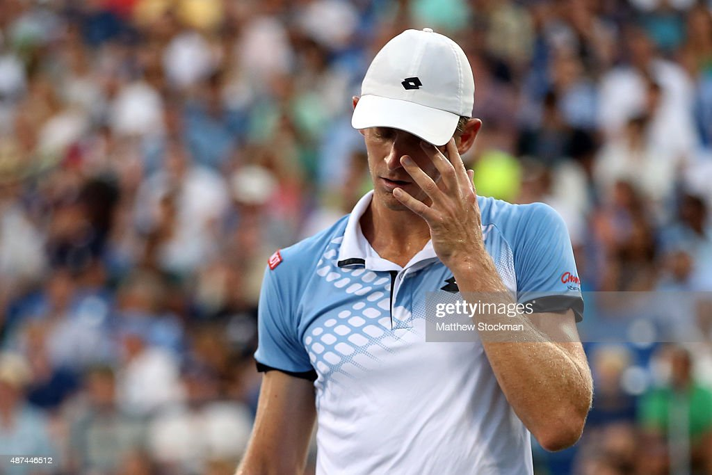 <a gi-track='captionPersonalityLinkClicked' href=/galleries/search?phrase=Kevin+Anderson+-+Tennis&family=editorial&specificpeople=5405822 ng-click='$event.stopPropagation()'>Kevin Anderson</a> of South Africa reacts against Stan Wawrinka of Switzerland during their Men's Singles Quarterfinals match on Day Ten of the 2015 US Open at the USTA Billie Jean King National Tennis Center on September 9, 2015 in the Flushing neighborhood of the Queens borough of New York City.