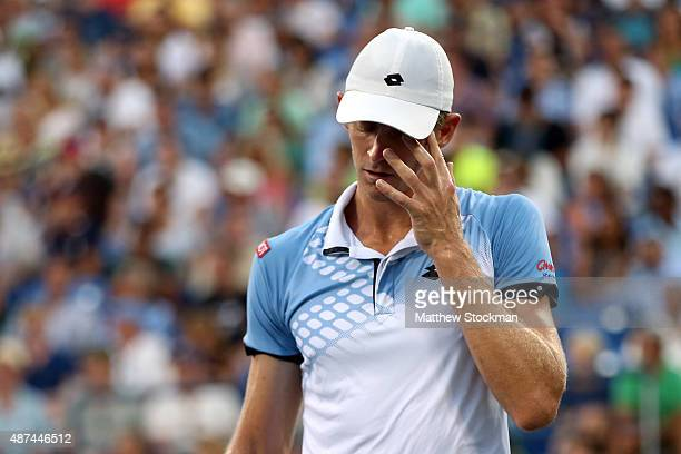 Kevin Anderson of South Africa reacts against Stan Wawrinka of Switzerland during their Men's Singles Quarterfinals match on Day Ten of the 2015 US...