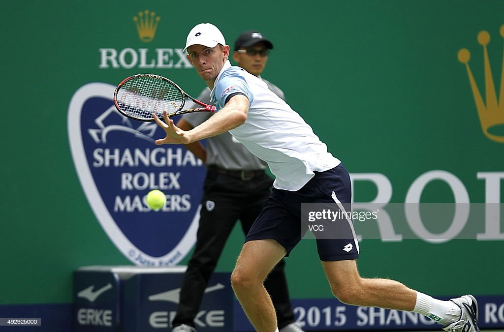 <a gi-track='captionPersonalityLinkClicked' href=/galleries/search?phrase=Kevin+Anderson+-+Tennis+Player&family=editorial&specificpeople=5405822 ng-click='$event.stopPropagation()'>Kevin Anderson</a> of South Africa returns a shot against Jo-Wilfried Tsonga of France during the men's singles quarterfinals match on day 6 of Shanghai Rolex Masters at Qi Zhong Tennis Centre on October 16, 2015 in Shanghai, China.