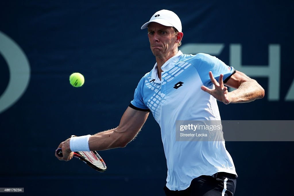 <a gi-track='captionPersonalityLinkClicked' href=/galleries/search?phrase=Kevin+Anderson+-+Tennis+Player&family=editorial&specificpeople=5405822 ng-click='$event.stopPropagation()'>Kevin Anderson</a> of South Africa returns a shot to Andrey Rublev of Russia during their Men's Singles First Round match on Day Two of the 2015 US Open at the USTA Billie Jean King National Tennis Center on September 1, 2015 in the Flushing neighborhood of the Queens borough of New York City.
