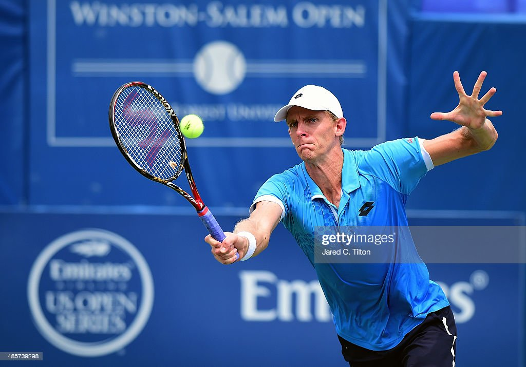 <a gi-track='captionPersonalityLinkClicked' href=/galleries/search?phrase=Kevin+Anderson+-+Tennis+Player&family=editorial&specificpeople=5405822 ng-click='$event.stopPropagation()'>Kevin Anderson</a> of South Africa returns a shot to Pierre-Hugues Herbert of France during the men's final match of the Winston-Salem Open at Wake Forest University on August 29, 2015 in Winston-Salem, North Carolina.