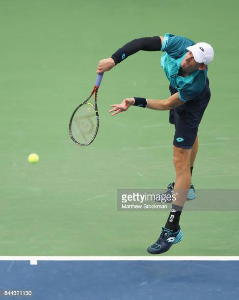 Kevin Anderson of South Africa serves against Pablo Carreno Busta of Spain during their Men's Singles Semifinal match on Day Twelve of the 2017 US...