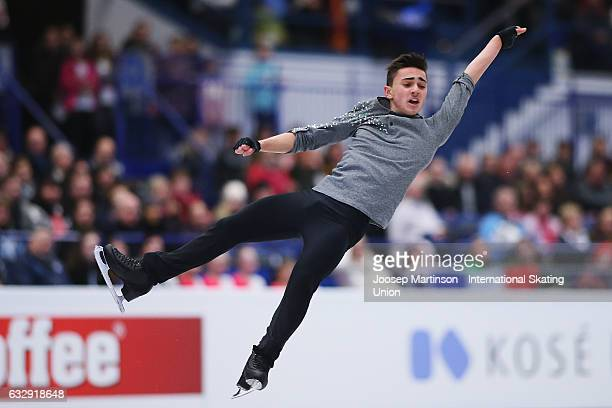 Kevin Aymoz of France competes in the Men's Free Skating during day 4 of the European Figure Skating Championships at Ostravar Arena on January 28...